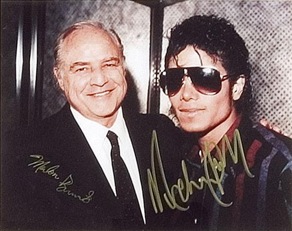 Description: Marlon Brando & Michael Jackson, both signatures on colour ...