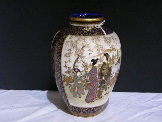 Vase Japanese Satsuma Pottery Evening Estate Auction Scammell