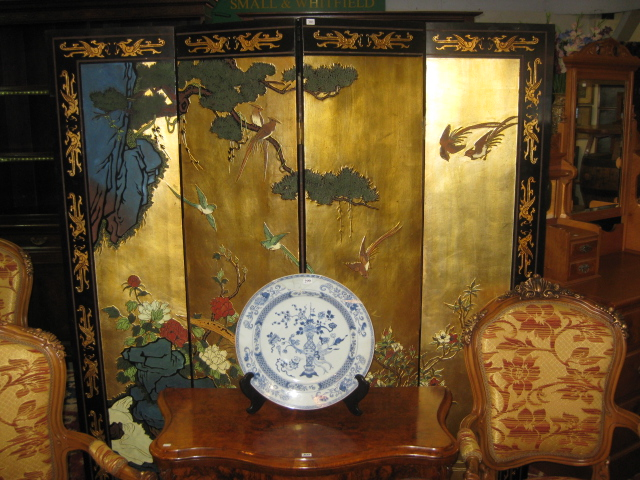 An oriental 4 fold screen with fine antiques for Oriental furniture adelaide