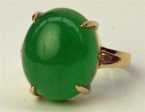 An 18ct Gold Jade Ring Claw Fine Art Jewellery