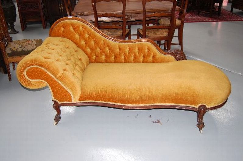 Antique victorian chaise lounge antiques collectables for Antique wooden chaise lounge