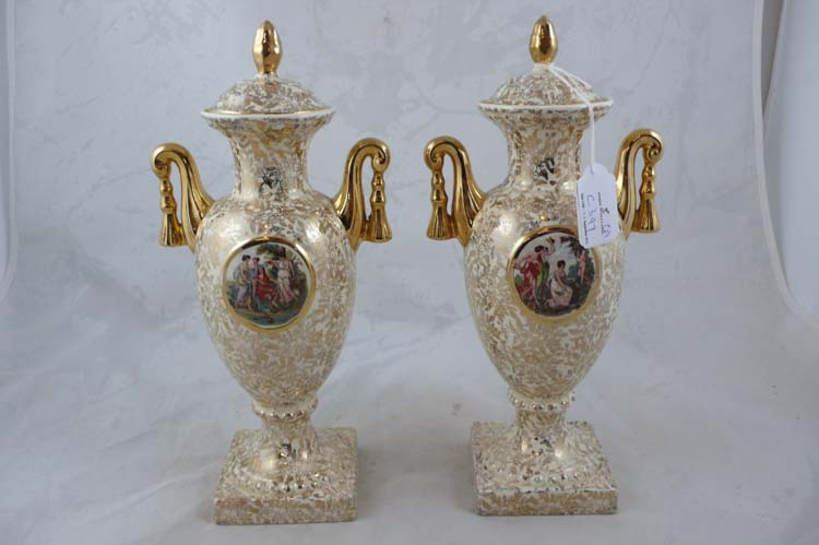 Pair Of Lidded Empire Ware Vases Antiques Collectables John