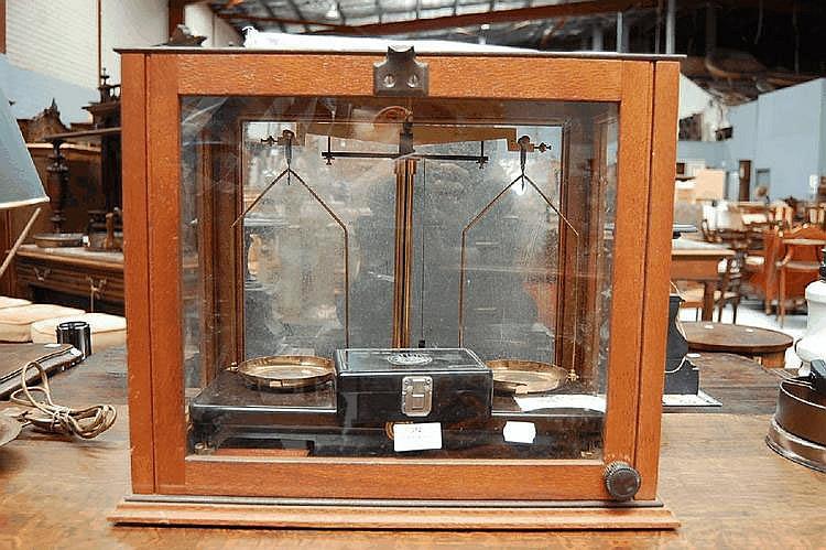 A mahogany cased set Griffin Tatlock Ltd microid balance scales