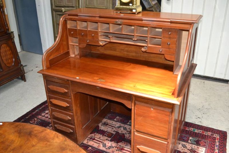 Solid blackwood roll top desk english and european for Oriental furniture adelaide