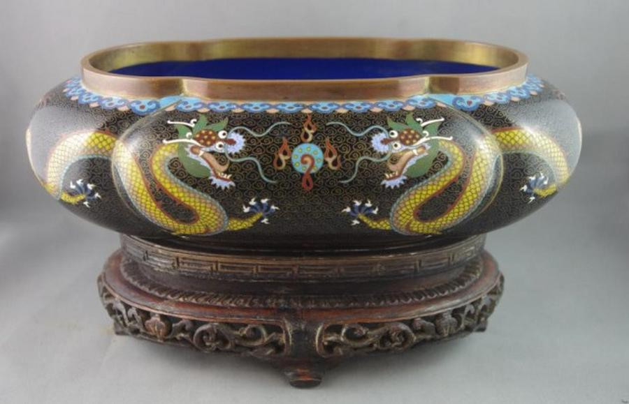 Fine Japanese Cloisonne Trough Ceramics Silver
