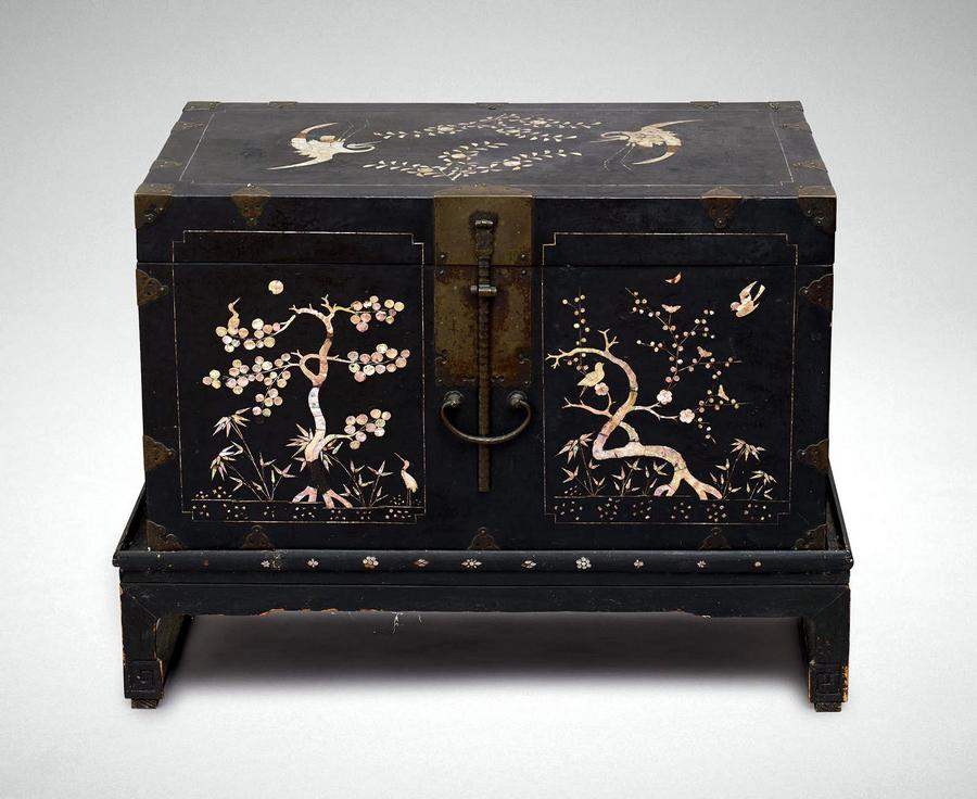 A Korean Black Lacquer Chest On Lockwood De Forest Ii