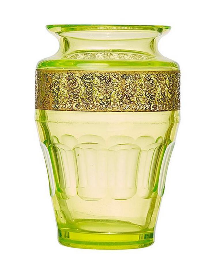 A Rare Moser Uranium Glass Vase Jewels Objets D Art Leonard
