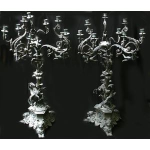 New Designer 39cm Tall Beaded Goblet Silver Candle Holder