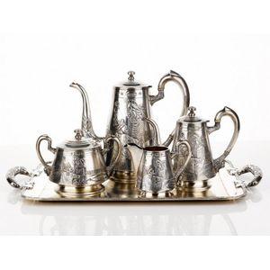 Silver Coffee/tea Tray Oblong Silver Gadroon Border