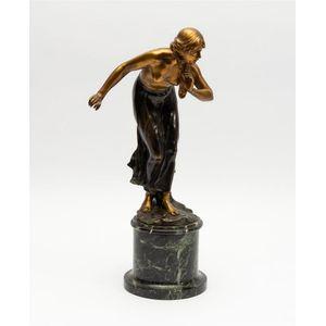 Bronze Sculpture Signed Art Deco Roaring C.1920S Nude L Statue Figurine Figure